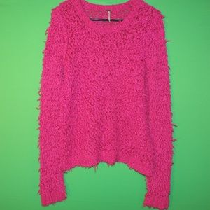 Free People Womens Size M Pink Sheer Fuzzy Sweater
